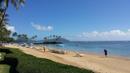 The public beach in front of the Kahala Hotel and Resort in Honolulu, Hawaii