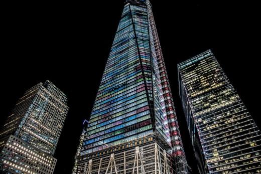 This November 2013 photo shows One World Trade illuminated at night.