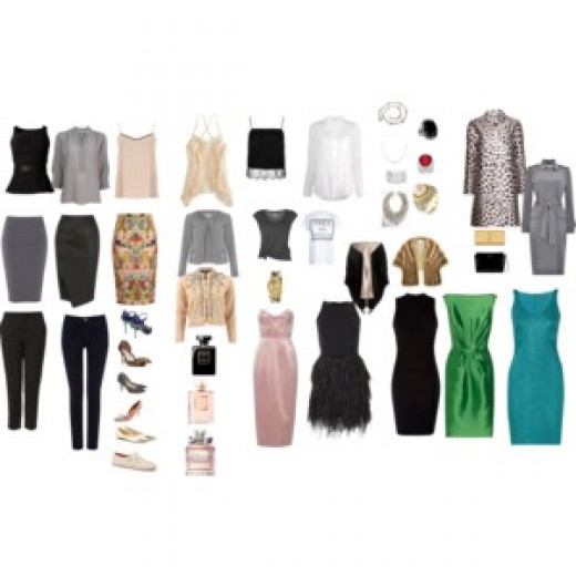A sample wardrobe for the Bombshell, featuring casual and evening looks!