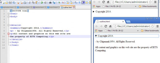 On the right is the code for a details section. The upper left shows the default display with the arrow which can be click to display the full copyright information.