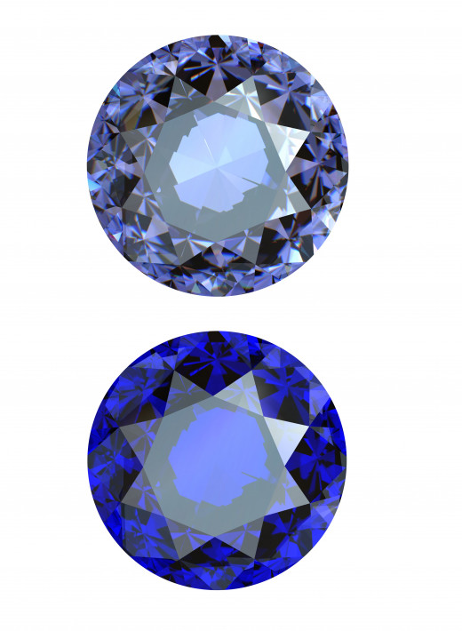 Different shades of Tanzanite.