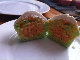 Interior of tye dye cupcake