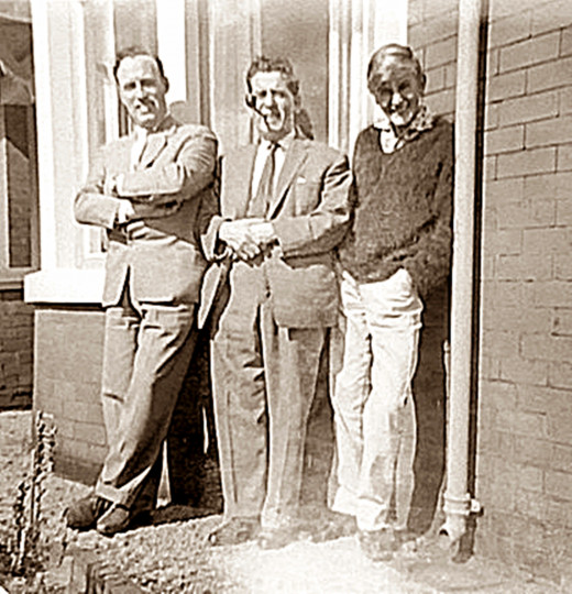 Three generations of our family: Dad, grandad and my older brother outside our house. Dad had driven to Gisburn to pick up grandad and they were relaxing in the garden after the journey.