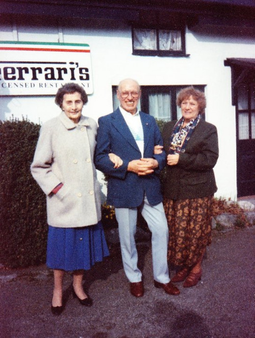 Dad in his late 60s with mum on the right and mum's friend Beryl outside one of the restaurants at which we used to dine on a Sunday.