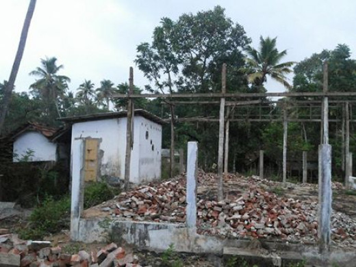 The demolished structure of a cinema talkies in Arthunkal, Kerala