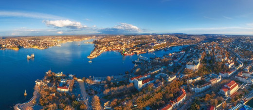 A fisheye view of the large inlets of Sevastopol. These inlets run deep into the peninsula.