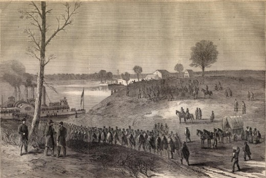 Sketch - exchanged Union prisoners march to a boat landing to be taken back to Union lines