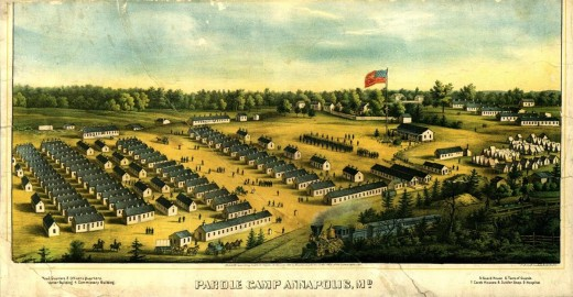 Painting - a camp fopr paroled Union prisoners in MD