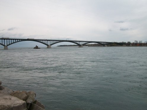 The Peace Bridge, from the Nowak Pier in the Niagara River