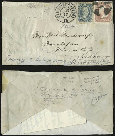 A cover envelope, with markings on the front and back, and postage stamps
