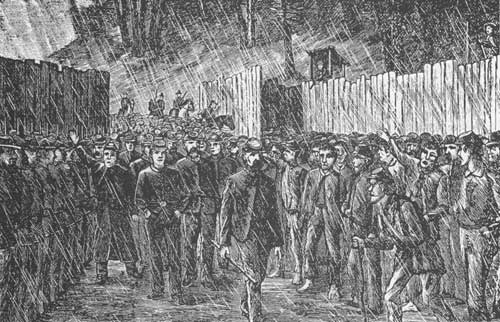 Sketch - prisoners enter Camp Sumter in Andersonville, GA