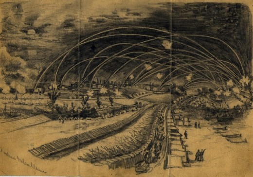 Sketch - troops move at night during the siege of Petersburg, VA