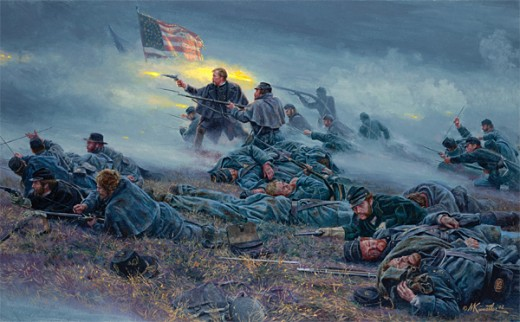 Painting - Union troops crouch among their dead comrades to return fire