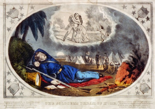 Painting - a Union soldier asleep and in a dream. It is doubtful that many troops slept this peacefully on the battlefield