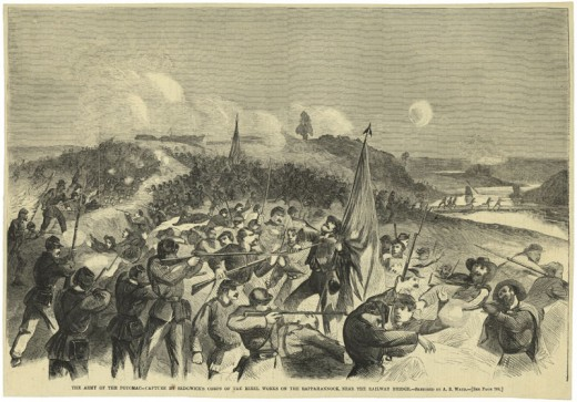 Sketch - a night attack upon Rappahanock Station in 1863