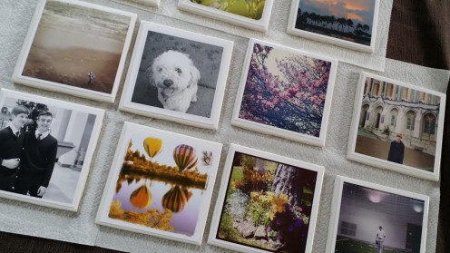 Show off your photography with these DIY photo tile coasters
