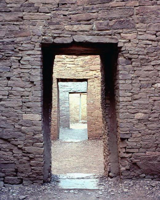Remnant doorways of Pueblo Bonito, an ancient pueblo city in Chaco Canyon, New Mexico.