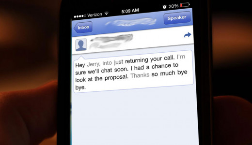 Screenshot of a transcribed voicemail using Google Voice