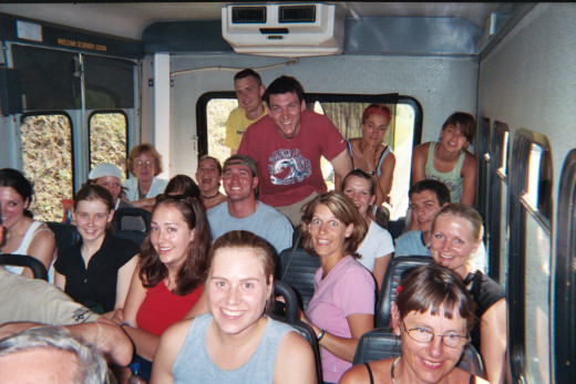 Typical excursion:  Bus filled to the brim with backpackers on an adventure.