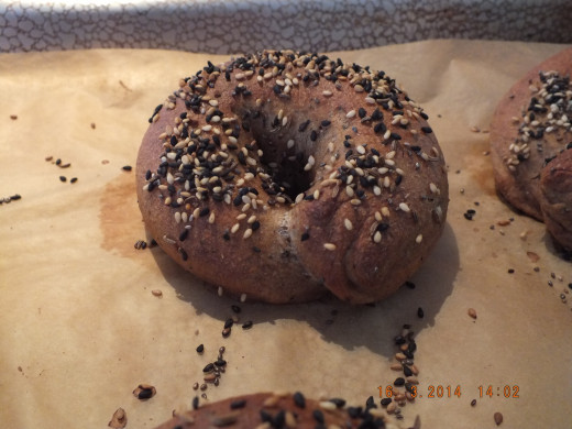 "This is the ""after the oven"" photo. I just wish you could smell how fantastic these bagels smell!"