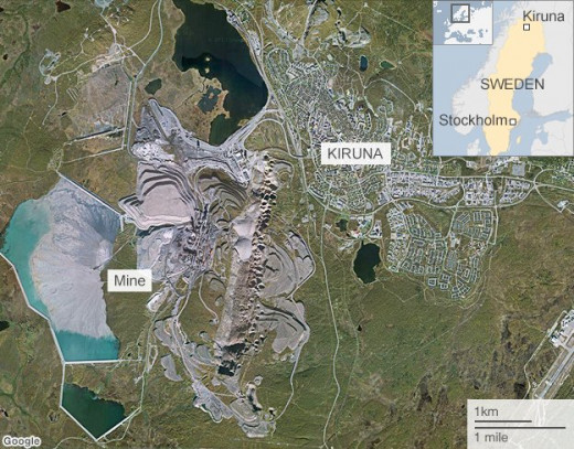 Kiruna Sweden in proximity to the iron ore mine.
