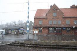 The historic train station in Kiruna, Sweden.