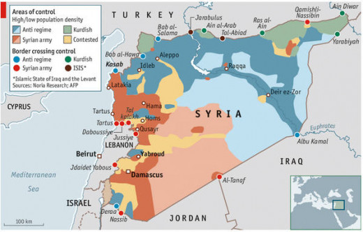 The current situation of who controls what in Syria