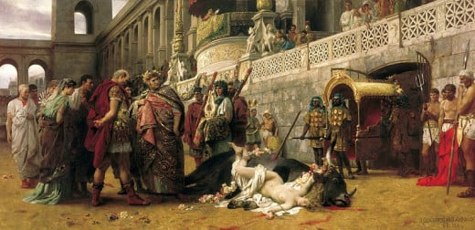 A Christian woman is martyred under Nero in this re-enactment of the myth of Dirce (painting by Henryk Siemiradzki, 1897)