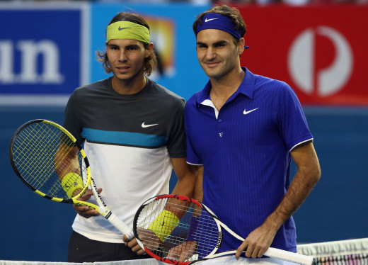 A picture of Rafael Nadal and Roger Federer in Melbourne, Australia.