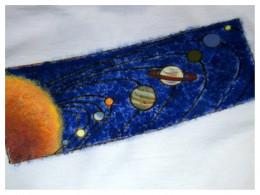 Impressionistic solar system tee shirt design.