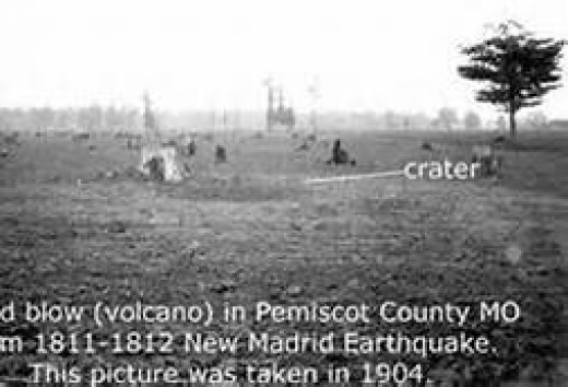A picture of a nearly 100 year old sand blow left over from the 1811-1812 New Madrid earthquakes.
