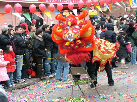 Chinese New Year celebration in Chinatown, Sunset Park, South Brooklyn.