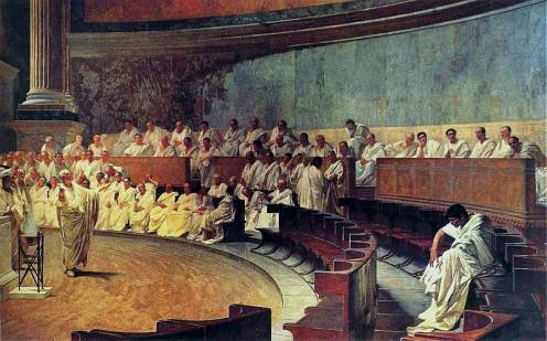 "A 1888 portrait by famous Italian painter Cesare Maccari, ""Cicero Denounces Catiline""."