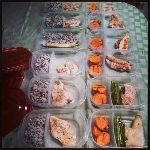 Preparing meals for the busy week ahead.