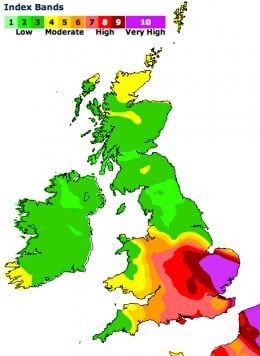 UK's smog index for April 2014.