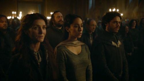 Catelyn Stark (Michelle Fairley), Talisa (Oona Chaplin) and Robb Stark (Richard Madden)