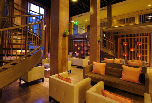 The Social Lobby of the Platinum LEED certified Proximity Hotel and restaurant in Greensboro, NC.