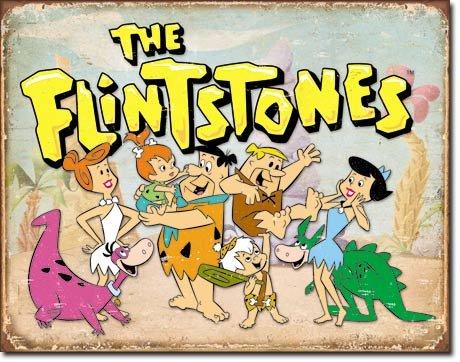 Flintstones Family Distressed Retro Vintage Tin Sign by Poster Revolution