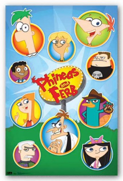 (22x34) Phineas and Ferb Grid TV Poster Print Poster Print, 22x34
