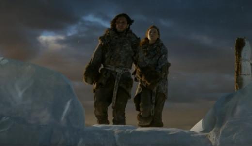 Jon Snow (Kit Harrington) and Ygritte (Rose Leslie)
