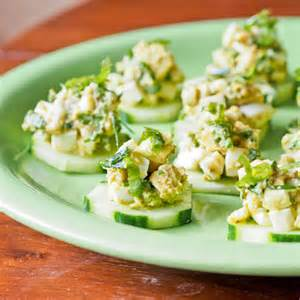 Egg Salad on cucumber slices