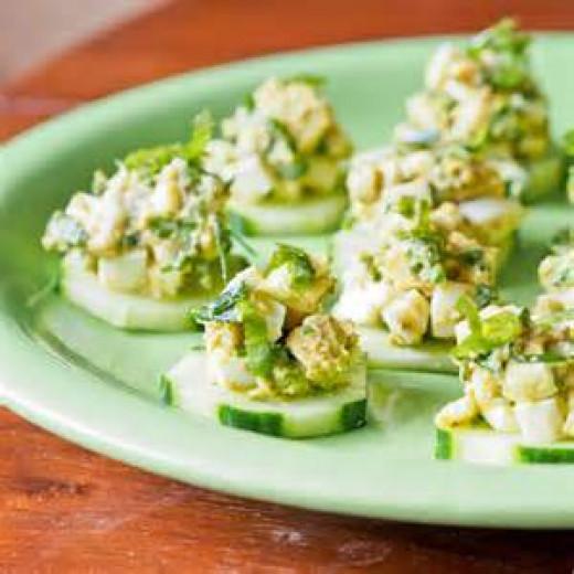 Egg Salad on cucumber slices