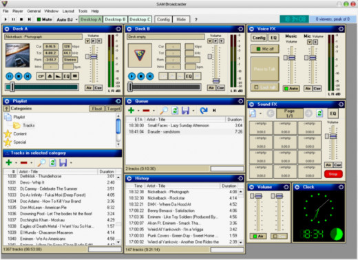 Screenshot of SAM broadcaster