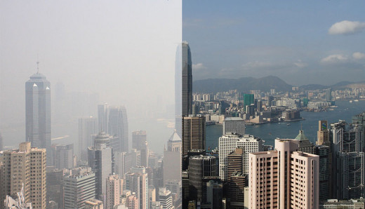 Air pollution in Hong Kong, visibility less than eight kilometers for 30% of the year.