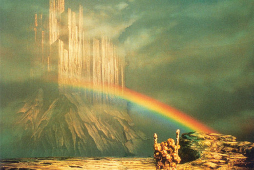 The rainbow bridge Bifroest with Asgard, the home of the gods, the Aesir and the Vanir
