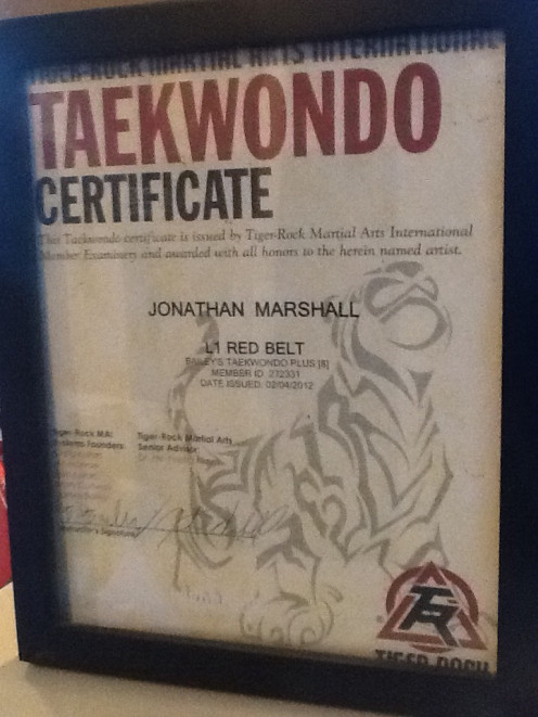 Jonathan Marshall, Jr. advanced to a red belt and was awarded this certificate as well as a red belt. He has since gained his black belt.