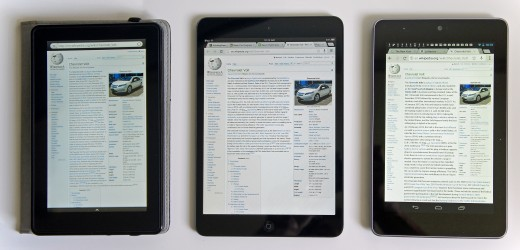 3 different tablets: the Amazon Kindle Fire (on the left), the Apple iPad Mini (middle) and the Google Nexus 7 (on the right), all showing the same page of Wikipedia.