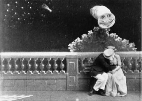 A stage tableau: Love By the Light Of the Moon.  This is a scene from a Thomas Edison silent film, directed by Edwin Porter.