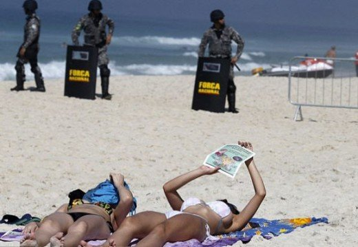 Nothing like police keeping things safe on the beach.