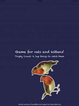 Game for cats lets the cat catch virtual birds which fly on screen